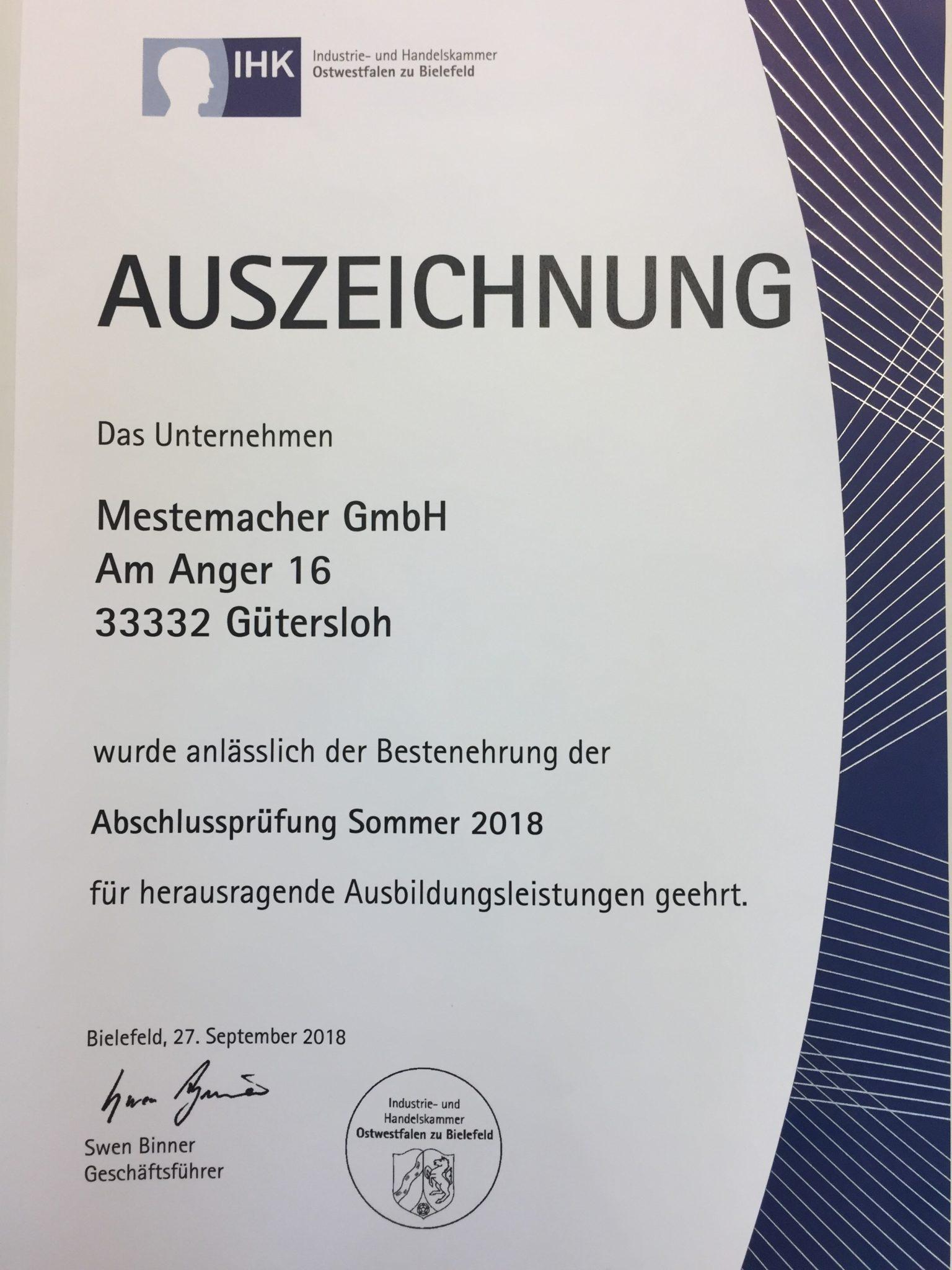 Auszeichnung für herausragende Ausbildungsleistungen